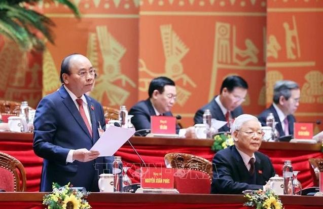Đồng chí Nguyễn Xuân Phúc, Ủy viên Bộ Chính trị, Thủ tướng Chính phủ thay mặt Đoàn Chủ tịch điều hành Đại hội. Ảnh: TTXVN