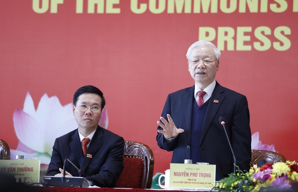 Đồng chí Nguyễn Phú Trọng, Tổng Bí thư Ban Chấp hành Trung ương Đảng khóa XIII, Chủ tịch nước CHXHCN Việt Nam chủ trì họp báo.