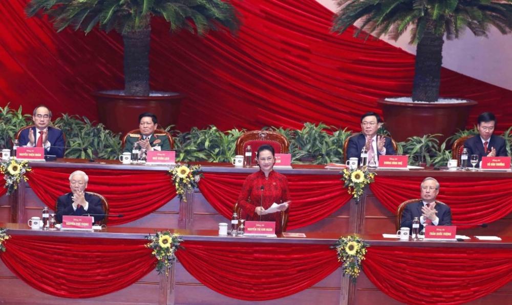 Thay mặt Đoàn Chủ tịch Đại hội, đồng chí Nguyễn Thị Kim Ngân, Chủ tịch Quốc hội điều hành phiên họp.
