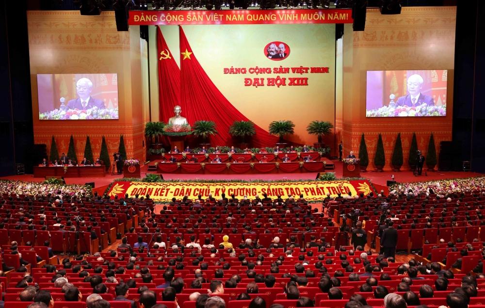 Đại hội nghe đồng chí Nguyễn Phú Trọng, Tổng Bí thư Ban Chấp hành Trung ương khóa XIII, Chủ tịch nước Cộng hòa xã hội chủ nghĩa Việt Nam đọc Diễn văn bế mạc Đại hội.