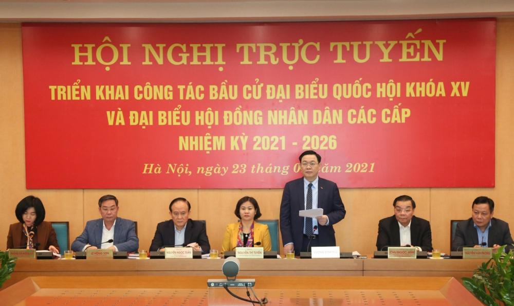 Bí thư Thành ủy Hà Nội Vương Đình Huệ phát biểu chỉ đạo tại hội nghị trực tuyến triển khai công tác bầu cử ngày 23/1