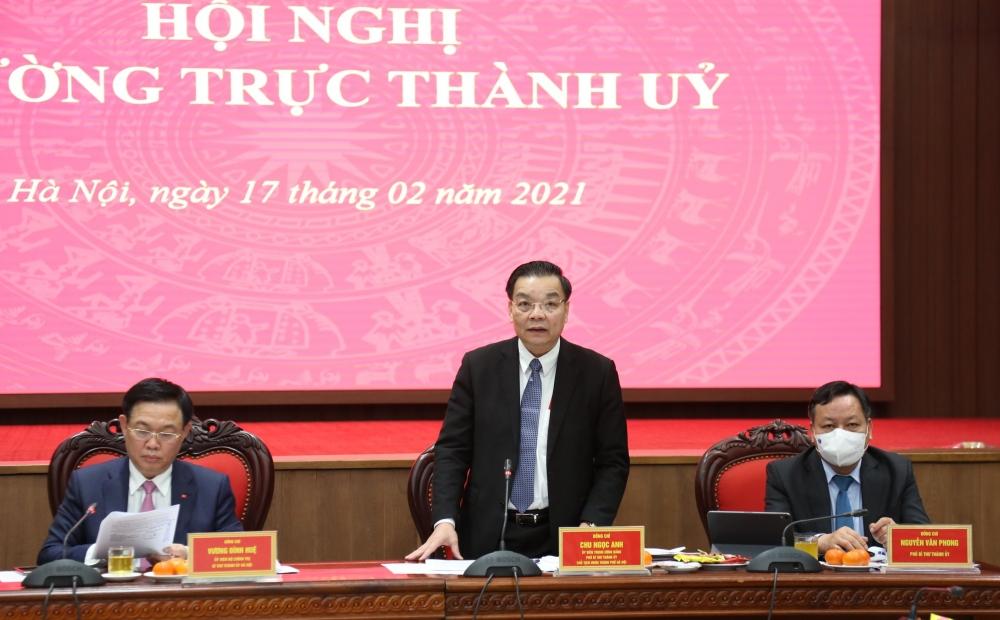 Chủ tịch Ủy ban nhân dân thành phố Hà Nội Chu Ngọc Anh phát biểu tại cuộc họp