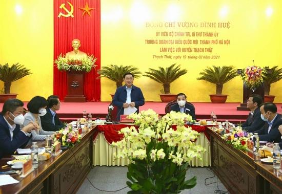 Bí thư Thành ủy  Hà Nội Vương Đình Huệ: Giải quyết dứt điểm việc giao đất dịch vụ ở huyện Thạch Thất