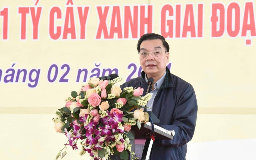 Chủ tịch Ủy ban nhân dân thành phố Hà Nội Chu Ngọc Anh phát biểu