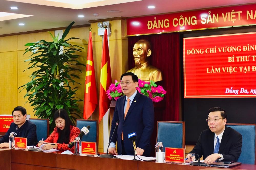 Bí thư Thành uỷ Hà Nội Vương Đình Huệ phát biểu kết luận buổi làm việc