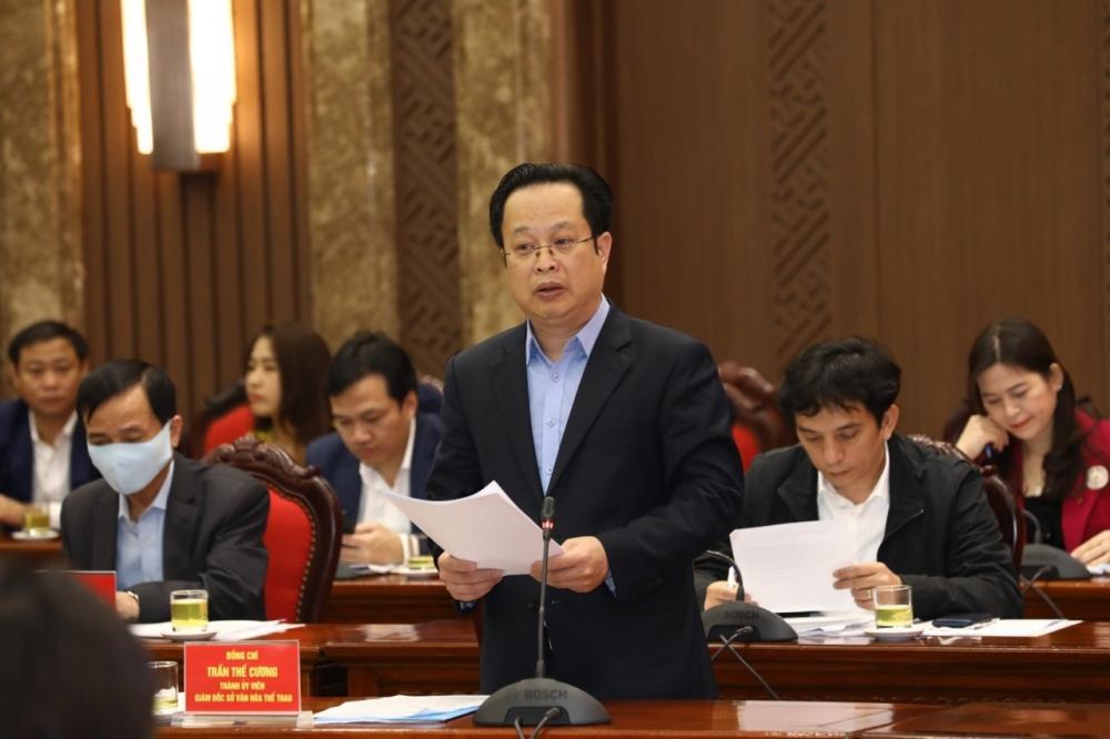 Giám đốc Sở Văn hóa và Thể thao Hà Nội Trần Thế Cương báo cáo tại buổi làm việc