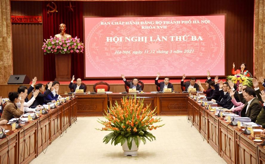 Ban Chấp hành Đảng bộ thành phố Hà Nội biểu quyết thông qua dự thảo Nghị quyết