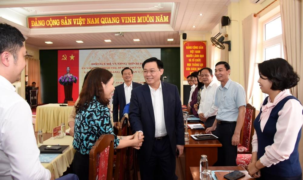 Bí thư Thành ủy Vương Đình Huệ làm việc với cán bộ chủ chốt quận Cầu Giấy