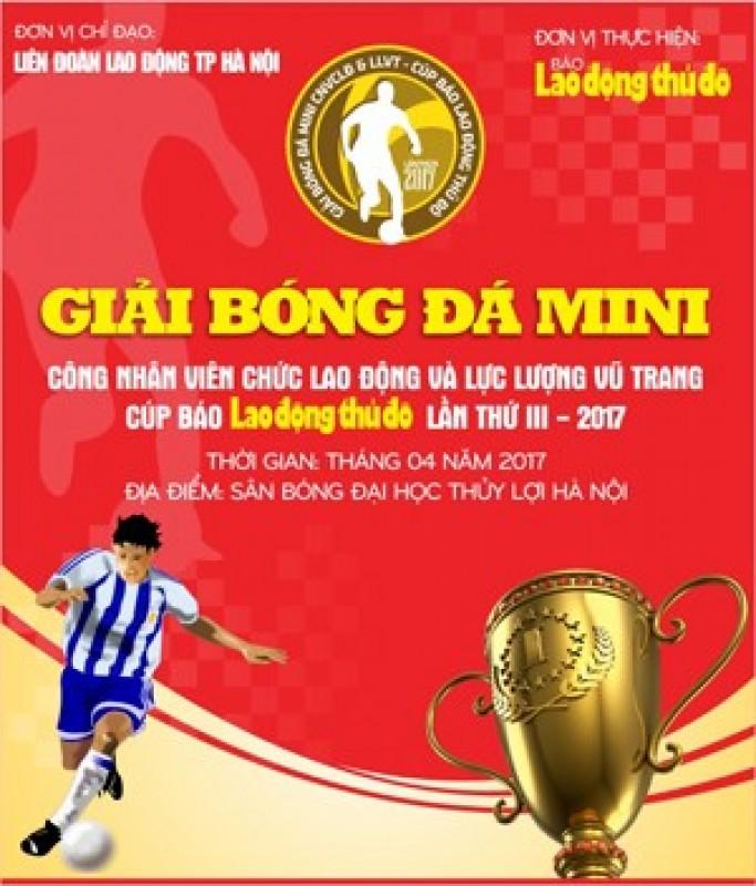 Toàn cảnh lễ bốc thăm phân bảng giải bóng đá mini lần thứ 3 cúp báo Lao động Thủ đô