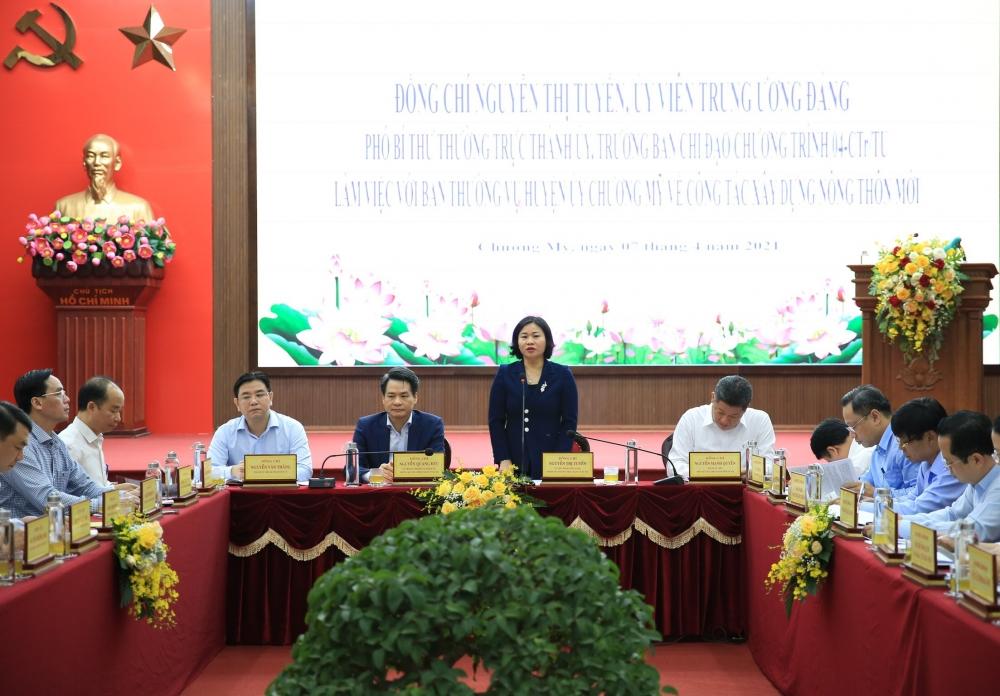 Phó Bí thư Thường trực Thành ủy Hà Nội Nguyễn Thị Tuyến phát biểu kết luận buổi làm việc
