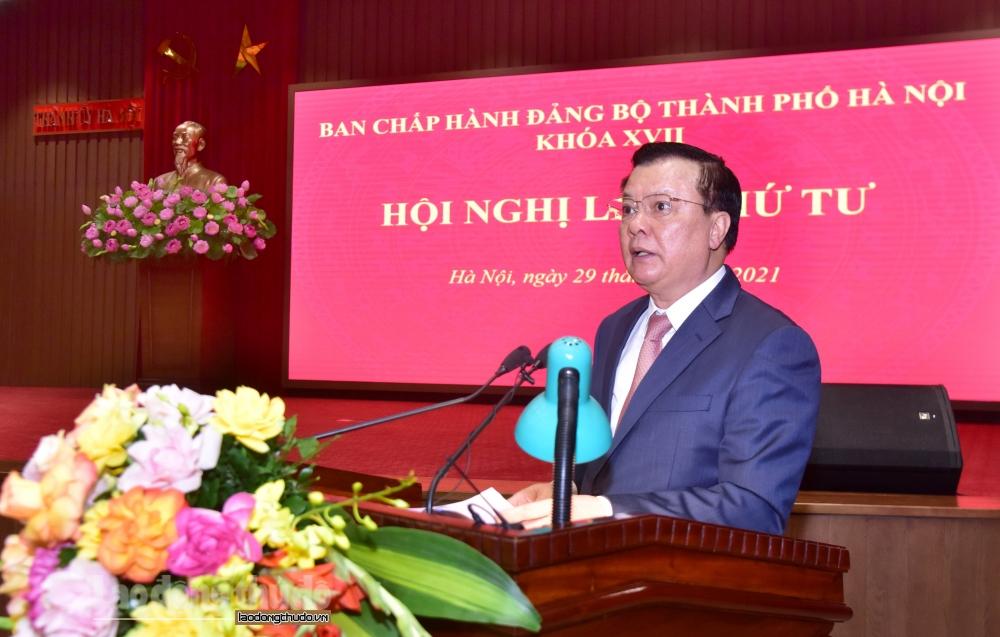 Bí thư Thành ủy Hà Nội Đinh Tiến Dũng phát biểu khai mạc hội nghị