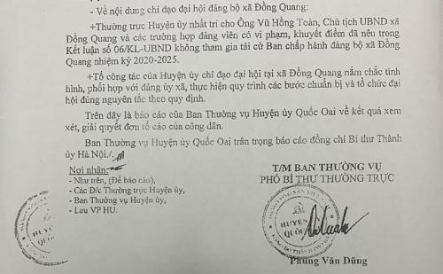 Quốc Oai: Chủ tịch UBND xã Đồng Quang