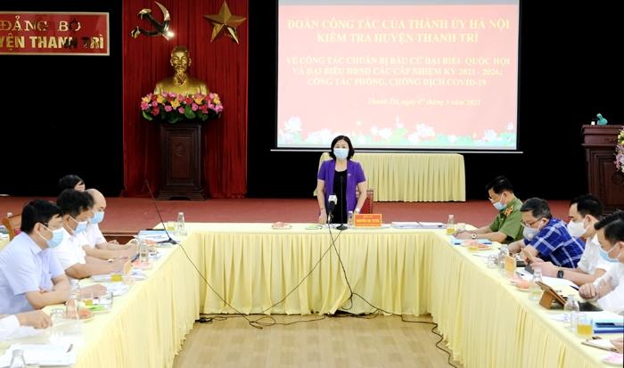 Phó Bí thư Thường trực Thành ủy Hà Nội Nguyễn Thị Tuyến phát biểu chỉ đạo
