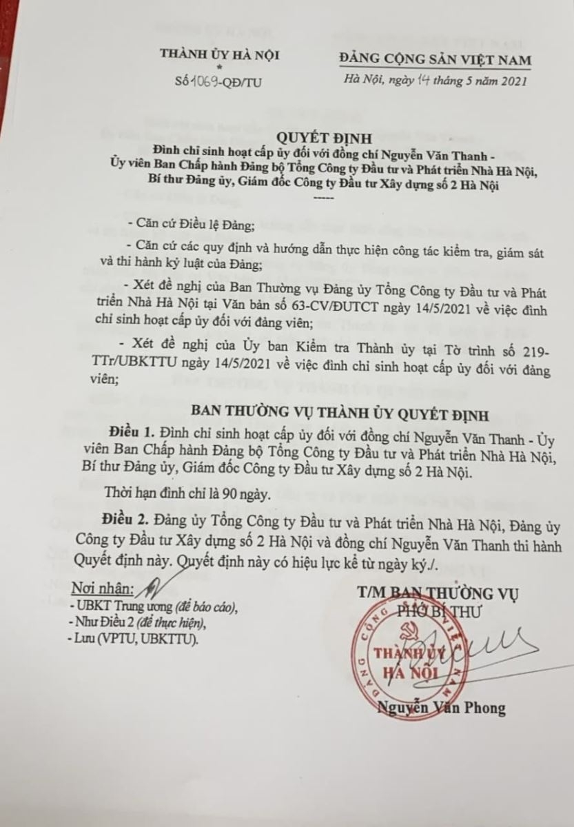 Hà Nội: Đình chỉ sinh hoạt cấp uỷ Giám đốc Hacinco do vi phạm về phòng chống dịch Covid - 19