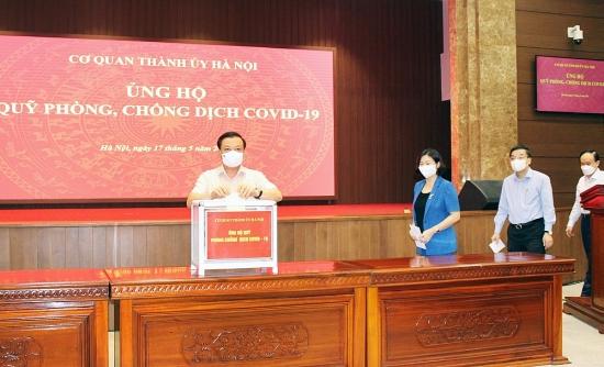 Cơ quan Thành ủy Hà Nội ủng hộ Quỹ Phòng, chống dịch Covid-19