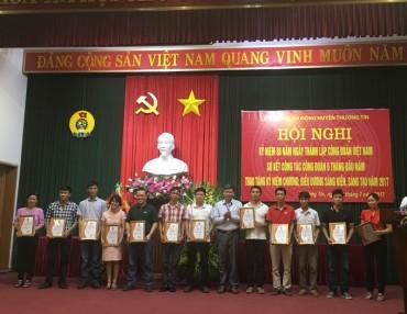 LĐLĐ huyện Thường Tín: Tuyên dương 13 công nhân giỏi 2017