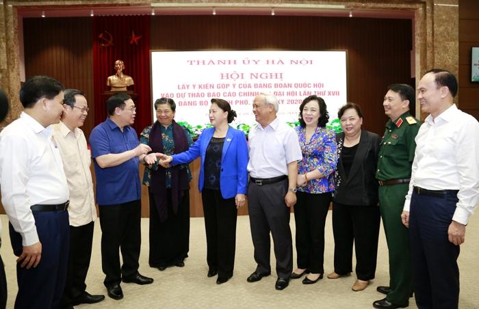 Hà Nội lấy ý kiến góp ý của Đảng đoàn Quốc hội vào dự thảo Báo cáo chính trị