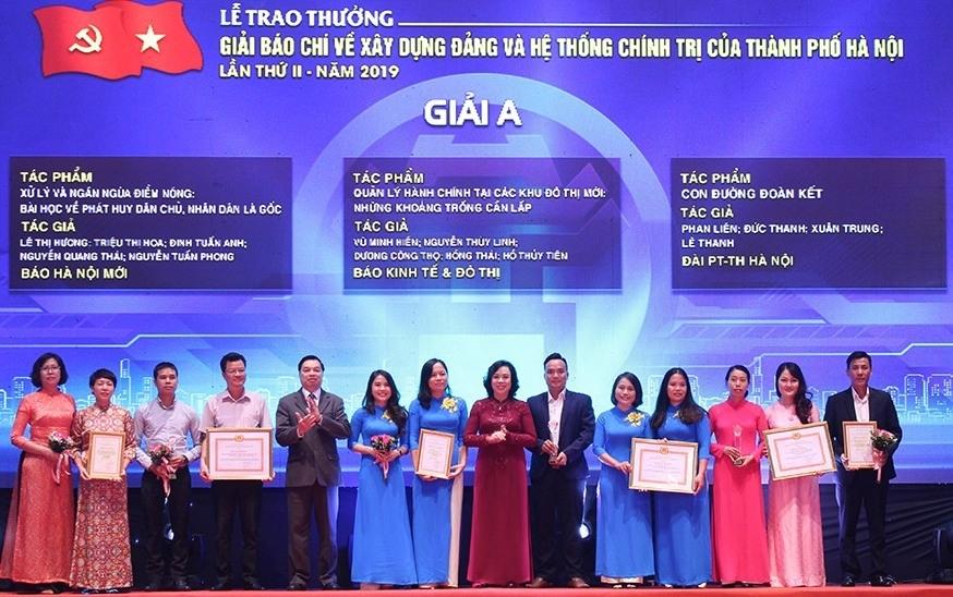 Trao thưởng 2 giải báo chí của thành phố Hà Nội lần thứ III vào ngày 29/9