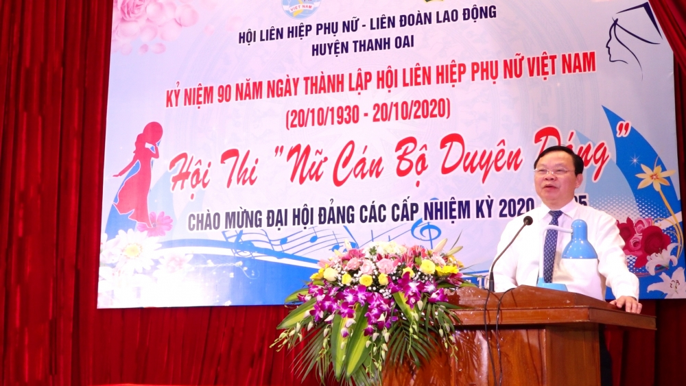 Bí thư Huyện ủy Thanh Oai Đinh Trường Thọ phát biểu tại hội thi