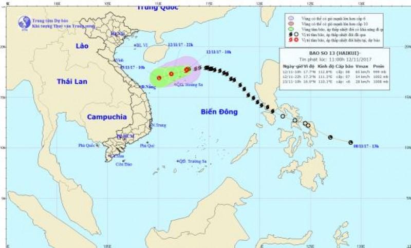 Bão số 13 đang suy yếu thành áp thấp nhiệt đới