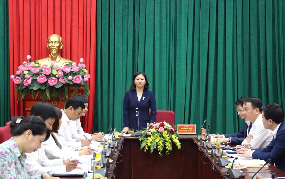 Phó Bí thư Thường trực Thành ủy Hà Nội Nguyễn Thị Tuyến làm việc với Đảng ủy Khối các cơ quan Thành phố