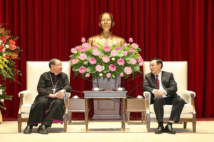 Lãnh đạo thành phố Hà Nội tiếp Tổng Giám mục Tổng Giáo phận Hà Nội