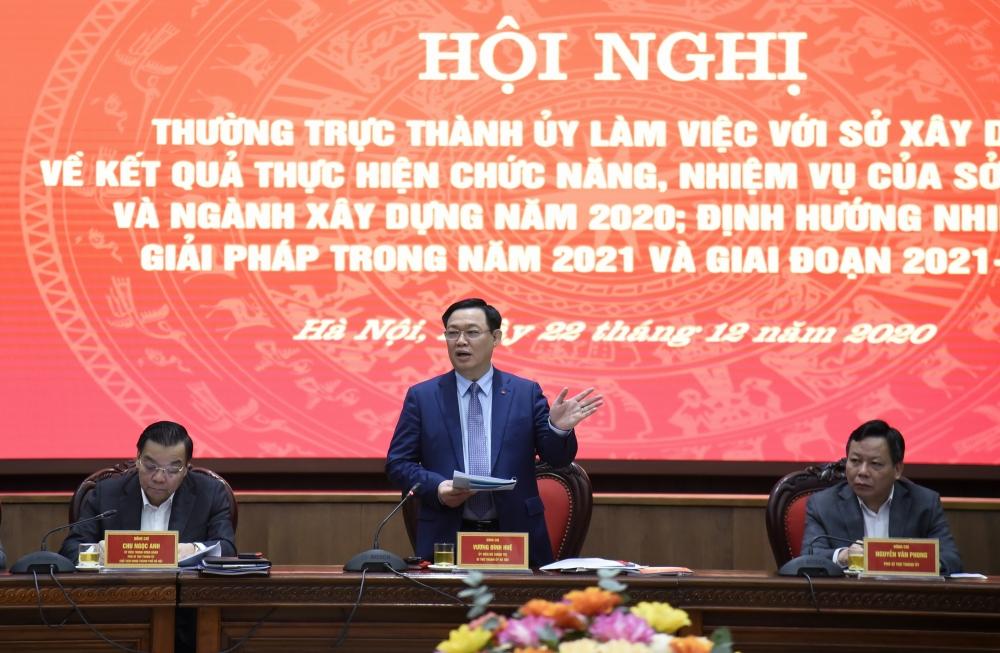 Thường trực Thành ủy Hà Nội làm việc với Sở Xây dựng