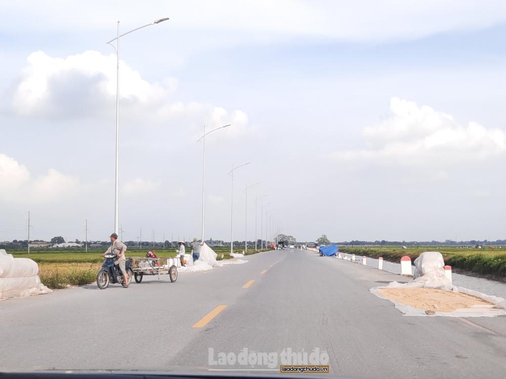 Mất an toàn giao thông từ việc phơi lúa chiếm lòng đường
