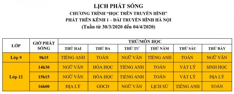 lich phat song chuong trinh hoc tren truyen hinh tu 303 den 44