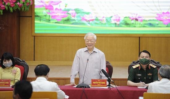 Tổng Bí thư Nguyễn Phú Trọng và các ứng cử viên đại biểu Quốc hội khóa XV tiếp xúc cử tri tại Hà Nội