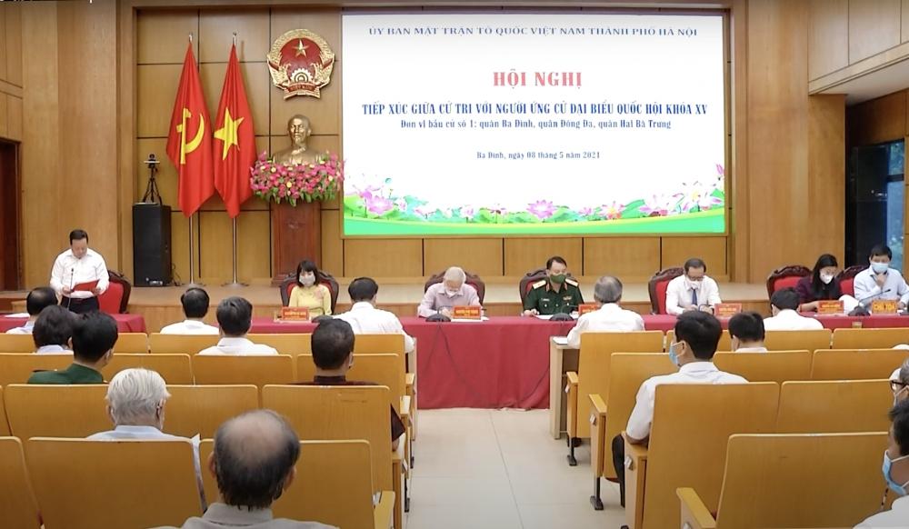 Tổng Bí thư Nguyễn Phú Trọng và các ứng cử viên đại biểu Quốc hội khóa XV tiếp xúc cử tri, vận động bầu cử tại Hà Nội