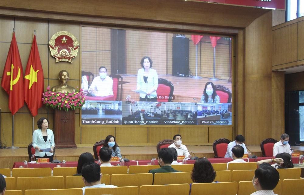 Người ứng cử đại biểu Hội đồng nhân dân thành phố Hà Nội tiếp xúc cử tri quận Ba Đình