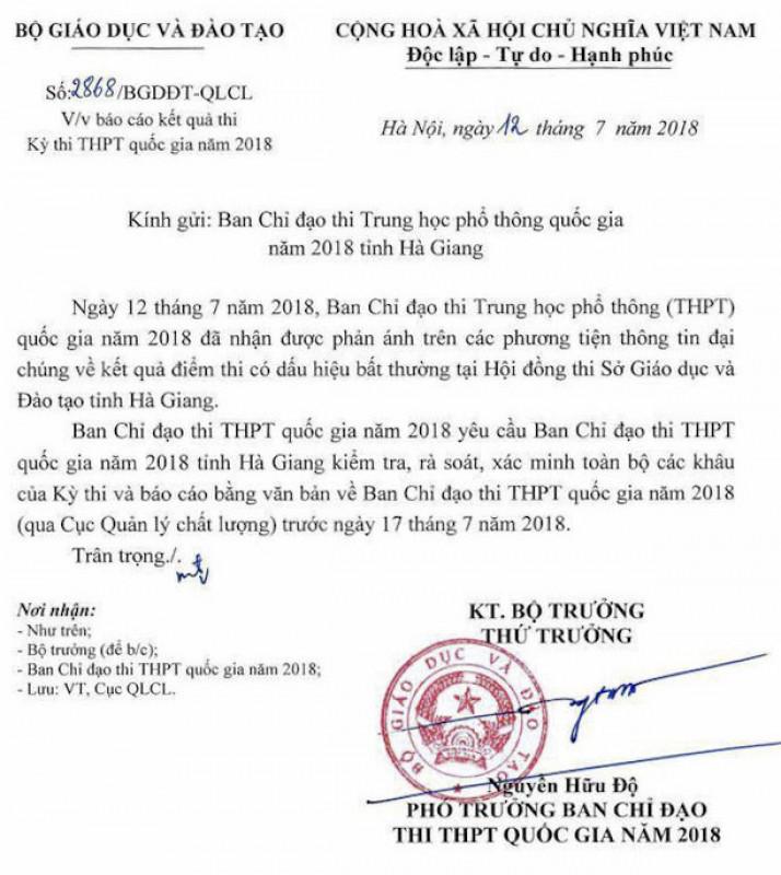 """Bộ GDĐT chỉ đạo kiểm tra sau thông tin điểm thi THPT quốc gia """"bất thường"""" tại Hà Giang"""