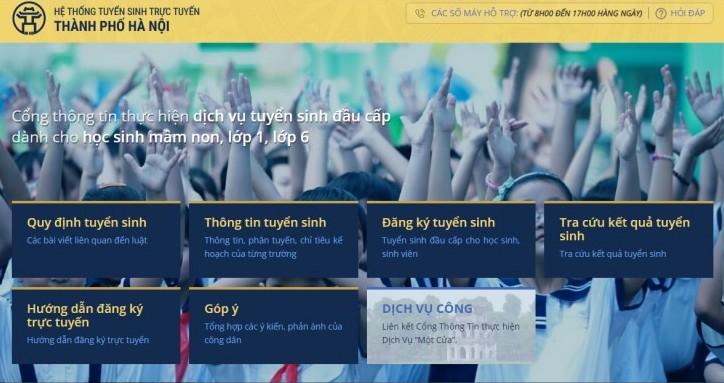 Hà Nội: Hướng dẫn đăng ký tuyển sinh trực tuyến vào lớp 6