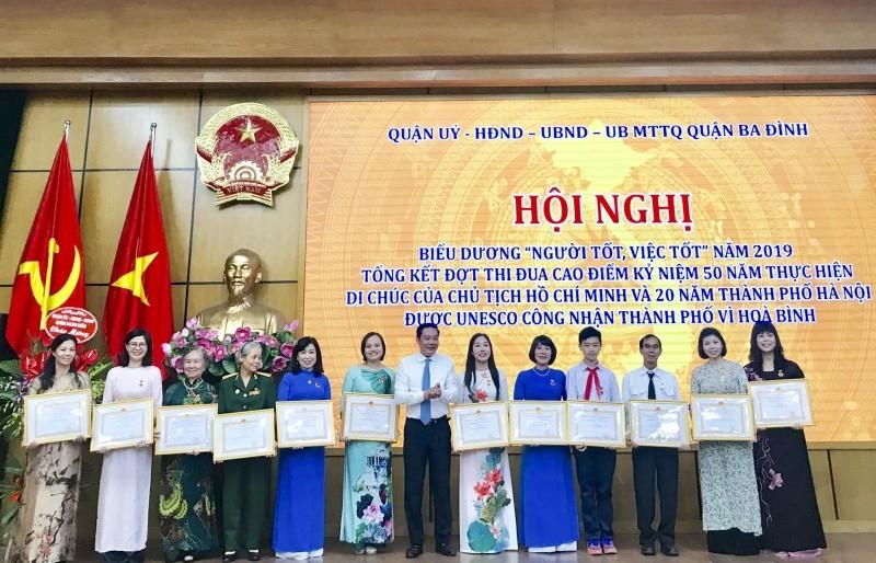 Quận Ba Đình: Biểu dương tấm gương 'Người tốt, việc tốt' năm 2019