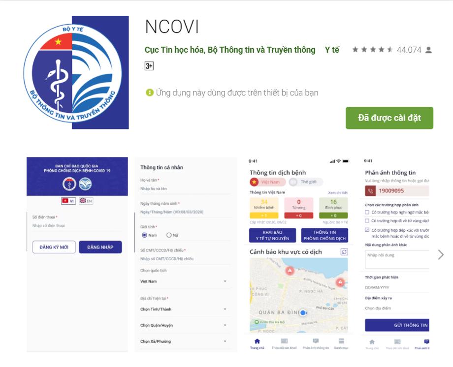 Khai báo y tế tự nguyện qua ứng dụng NCOVI