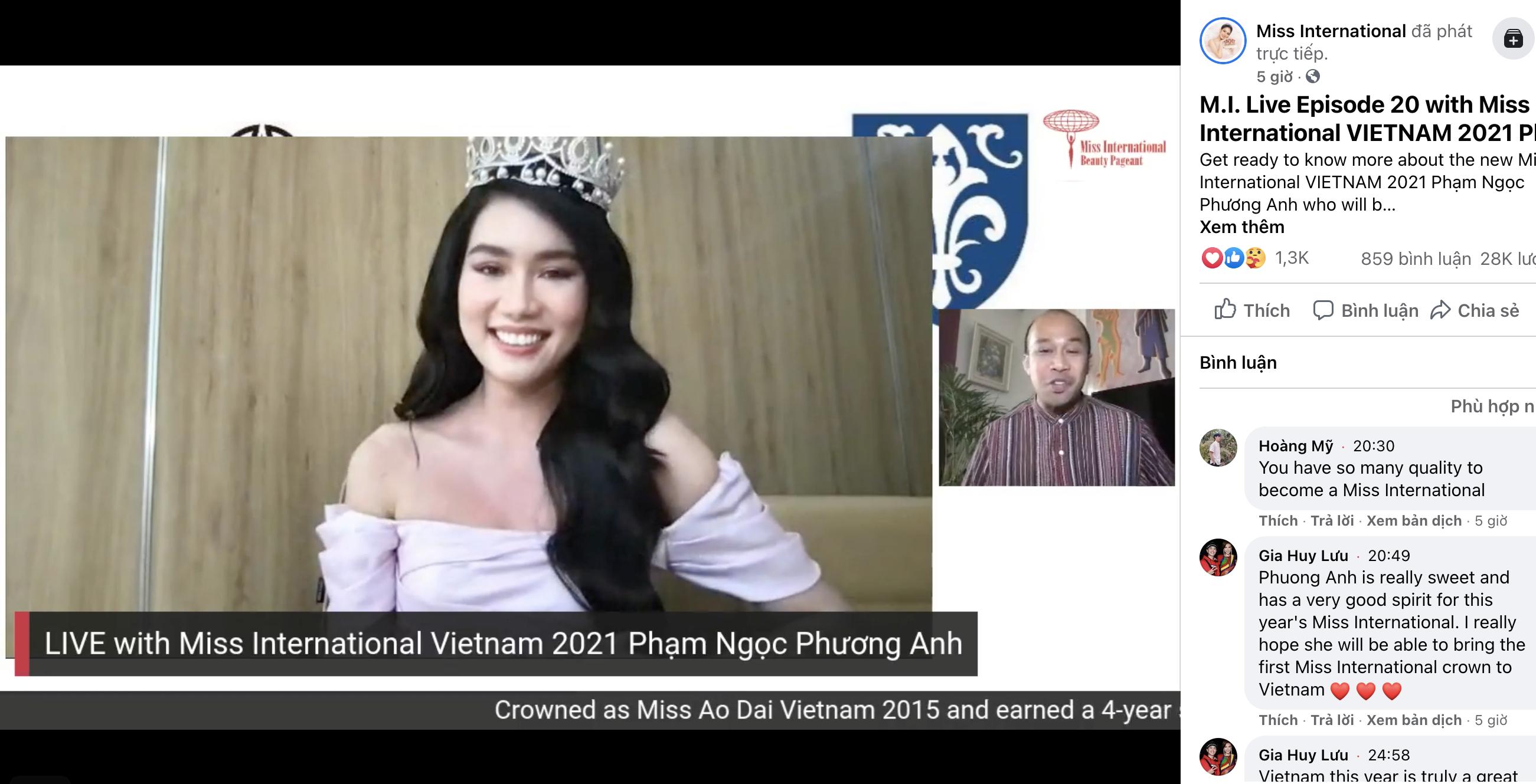 Á hậu Phương Anh trò chuyện lưu loát bằng tiếng Anh tại buổi giao lưu trực tuyến Hoa hậu Quốc tế