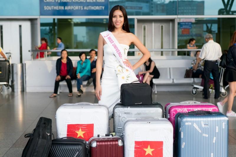 Á hậu Nguyễn Thị Loan mang hành lý 'khủng' đến Hoa hậu Hoàn vũ Thế giới