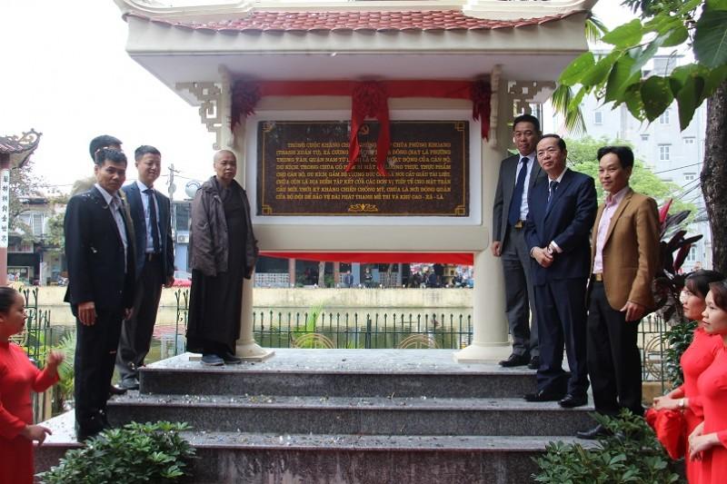 Chùa Phùng Khoang được gắn biển địa điểm lưu niệm sự kiện cách mạng kháng chiến