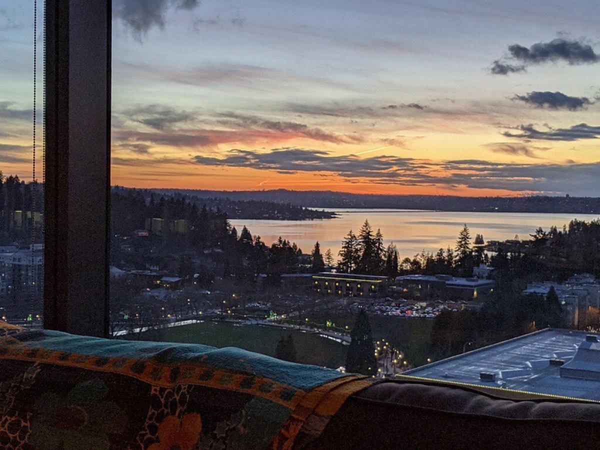 Một người dùng chia sẻ khung cảnh hoàng hôn tại Bellevue, Seattle (Mỹ), đằng xa là hồ Washington. Nguồn: windowswap