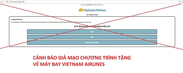 Cảnh giác hành vi giả mạo tặng vé máy bay miễn phí