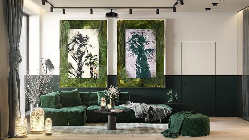 Nội thất trang trí màu xanh lá cây tươi mới