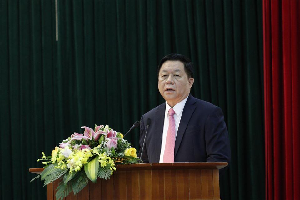 Thượng tướng Nguyễn Trọng Nghĩa phát biểu tại buổi công bố quyết định. Ảnh Phạm Cường
