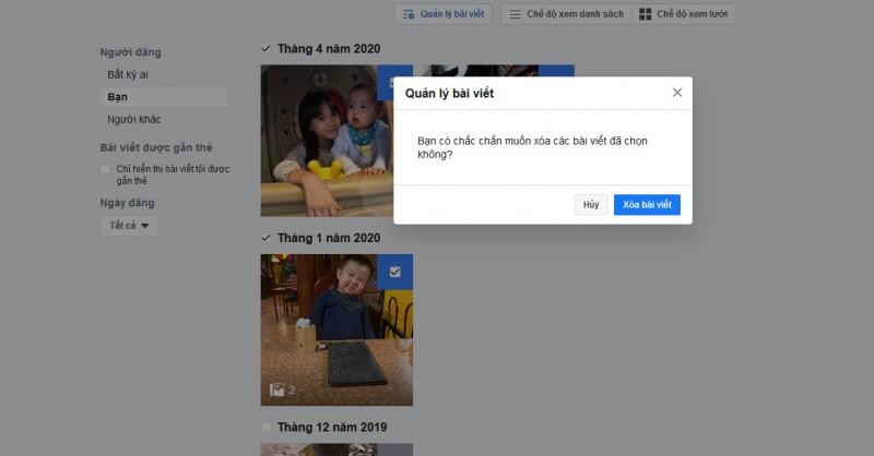 cach an xoa go the hang loat bai viet khong mong muon tren facebook