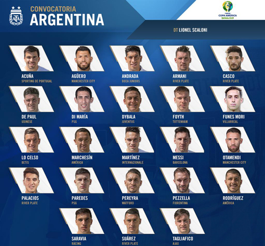 argentina chot doi hinh du copa america co hoi cua cac tan binh