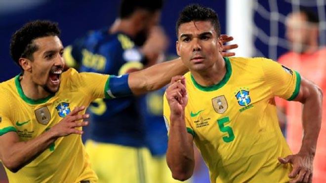 Casemiro ấn định tỷ số 2-1 trận Brazil vs Colombia ở phút 90'+10