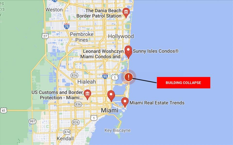 Đây không phải là lần đầu tiên một tòa nhà cao tầng trên đại lộ Collins sụp đổ. Năm 2018, một tòa nhà 13 tầng tại địa chỉ số 5775 trên đại lộ này bất ngờ sụp xuống trong quá trình chờ phá dỡ, khiến một người trọng thương. Trong hình là khu vực xảy ra vụ sập tòa nhà cao tầng gần Miami Beach, Florida, Mỹ, hôm nay. Ảnh: Google Maps.