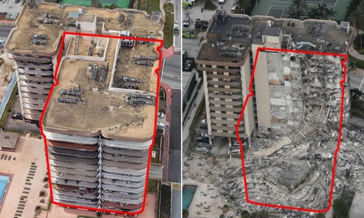 Hình ảnh trước (trái) và sau khi một phần của chung cư 12 tầng Champlain Towers tại bang Florida, Mỹ bị sập hôm 24.6.