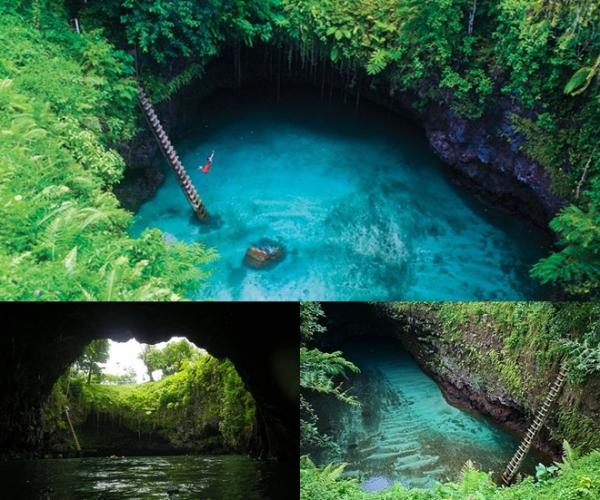 Rãnh To Sua, Lotofaga, Samoa: Hồ nước sâu 30 m trong vắt nằm giữa khung cảnh rừng núi xanh biếc này được mệnh danh là bể bơi tự nhiên đẹp nhất thế giới. Hàng loạt kênh nối với biển Nam Thái Bình Dương khiến hồ không bao giờ cạn nước.
