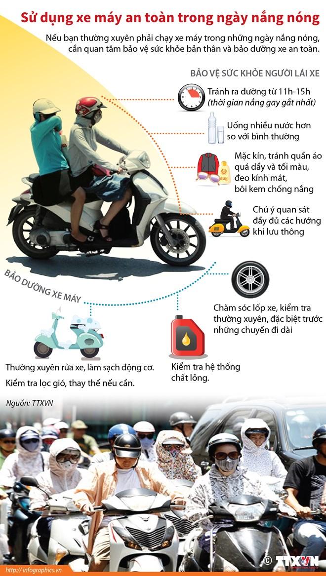 infographics su dung xe may an toan trong ngay nang nong